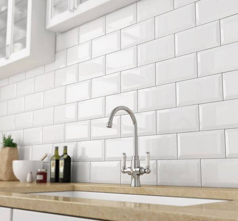Metro Wall Tiles for Kitchens with Backsplash and Sink - White 10