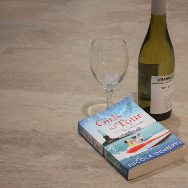 Montblanc Slate Effect Beige Floor Tiles with Wonderful Book and Bottle of Wine