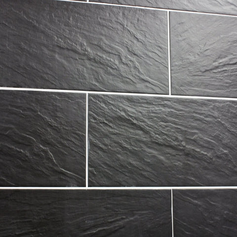 Nain Black Slate Effect Tiles on a Wall