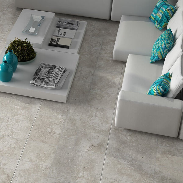 Neptuno Large Grey Floor Tiles in Modern Home