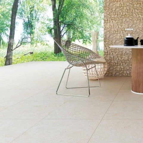 Olympo Sand Garden Tile in Rustic Setting
