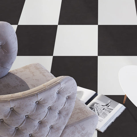 Prisma Black and White Floor Tiles with Armchair
