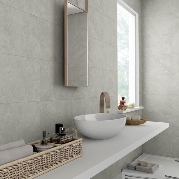 Rapolano Grey Bathroom Wall Tiles in Stylish Bathroom