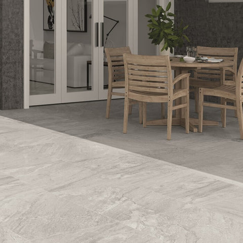 Icaria White Outdoor Tile in Patio Setting