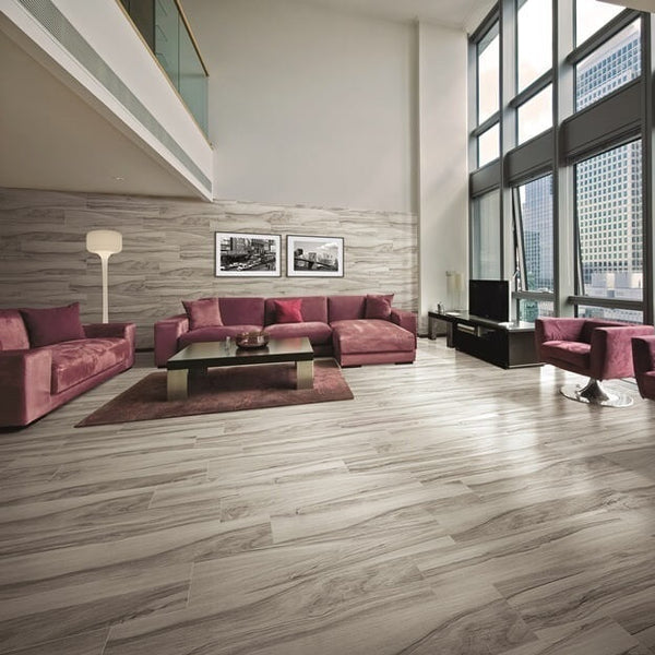 Sauco Grey Wood Effect Tiles in Stunning Apartment with Red Couches and City View