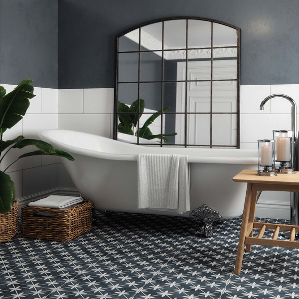 Sofia Black Floor Tile with Free Standing Bath
