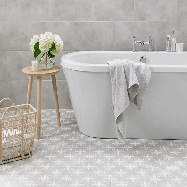 Sofia Grey Floor Tile with Modern Free Standing Bath