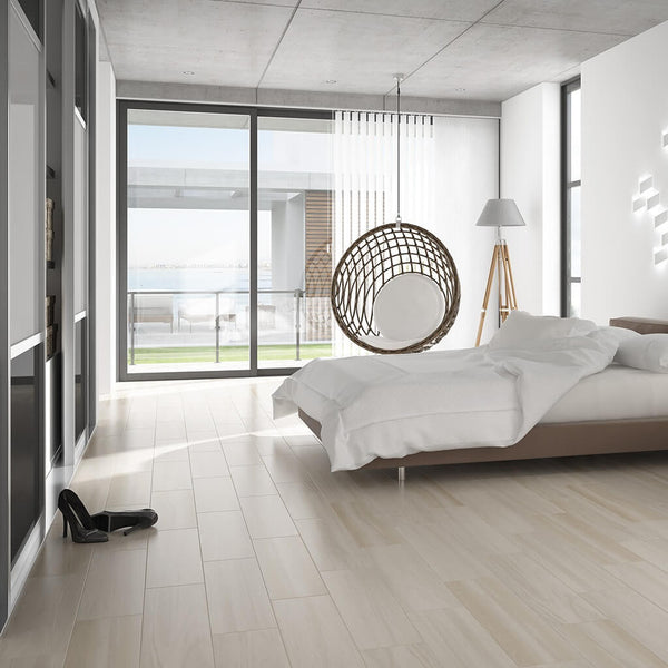 Sophie Cream Wood Effect Floor Tiles in Modern Bedroom