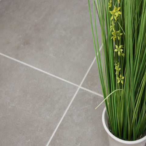 Stockholm Grey Floor Tiles with Plant