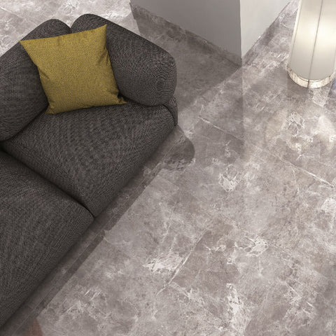 Temptation Grey Marble Effect Floor Tiles in Living Room with Grey Couch