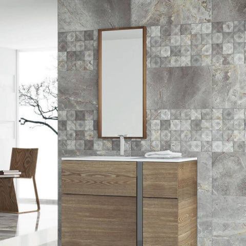 Tiffany Grey Wall Tiles in Modern Bathroom