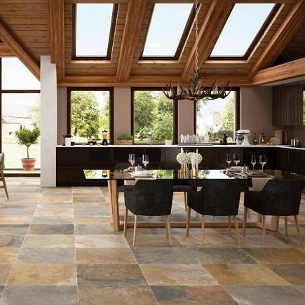 Vermont Slate Effect Tile in Luxury Kitchen