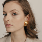 1980s Vintage Givenchy Brushed Statement Clip-On Earrings