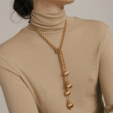 1970s Vintage Monet Filigree Lariat Necklace