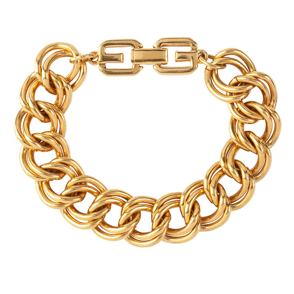 1980s Vintage Givenchy Double Chain Link Bracelet