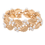 1960s Vintage Trifari Faux Pearl and Leaf Bracelet