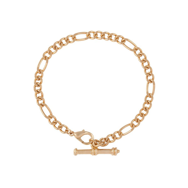 1990s Vintage 22ct Gold Plated Figaro Bracelet with T Bar