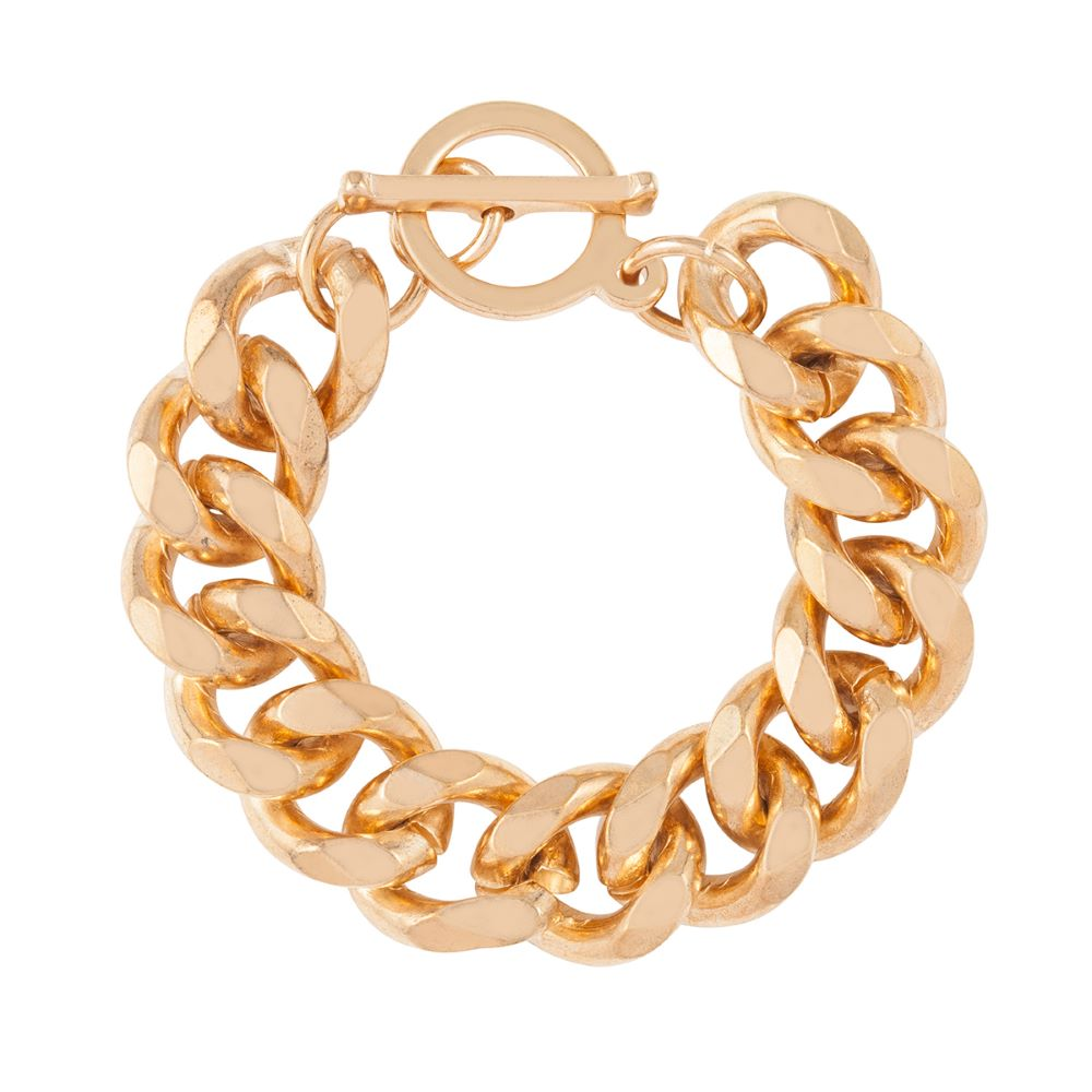 1990s Vintage 22ct Gold Plated Chunky Chain Bracelet
