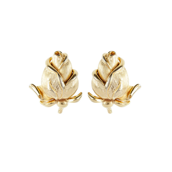 1960s Vintage Trifari Rosebud Clip-On Earrings