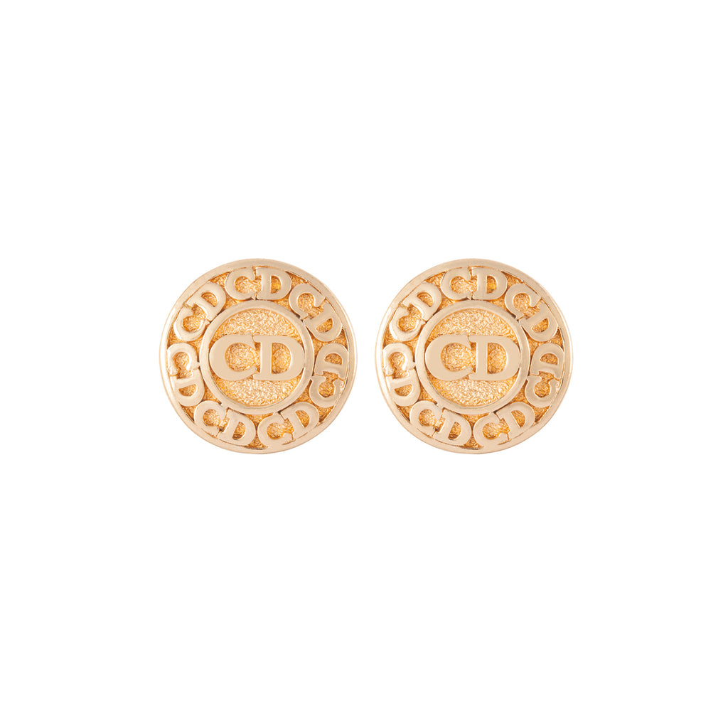 1990s Vintage Christian Dior Monogram Clip-On Earrings