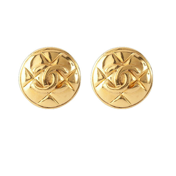 1980s Vintage Chanel Mattelasse Clip-On Earrings