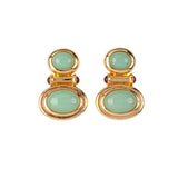 1990s Vintage Elizabeth Taylor Cabochon Clip-On Earrings
