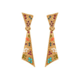 1980s Vintage D'Orlan Colourful Swarovski Crystal Clip-On Earrings