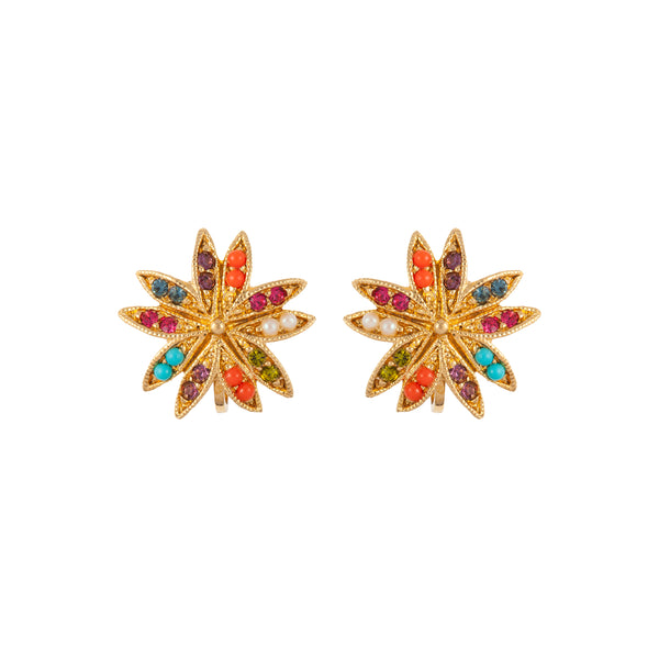 1980s Vintage D'Orlan Colourful Star Clip-On Earrings