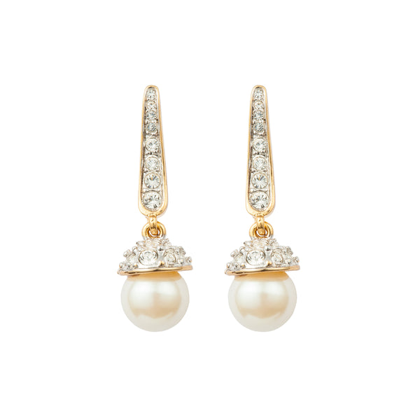 1980s Vintage D'Orlan Faux Pearl Swarovski Crystal Earrings