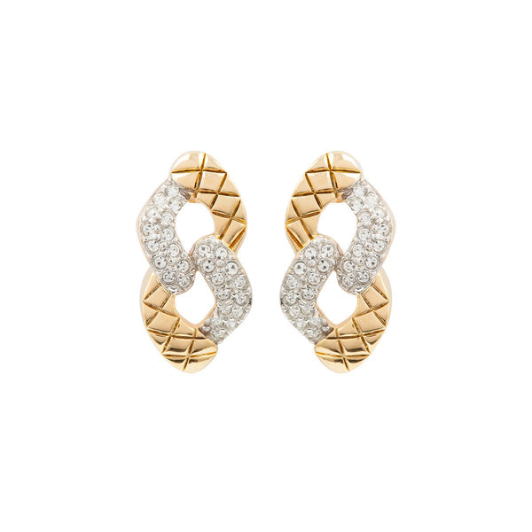 1980s Vintage Knot Swarovski Crystal Link Earrings