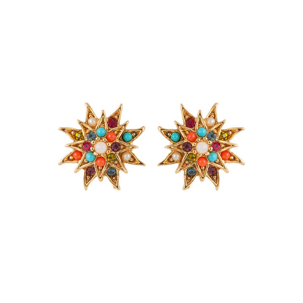 1980s Vintage D'Orlan Star Swarovski Crystal Clip-On Earrings