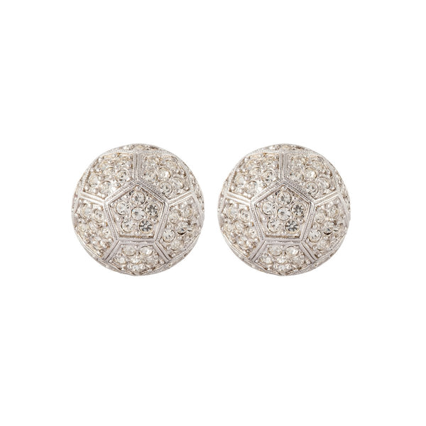 1980s Vintage D'Orlan Swarovski Crystal Round Earrings