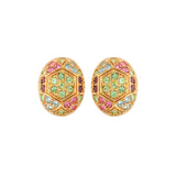 1980s Vintage D'Orlan Swarovski Crystal Oval Clip-On Earrings