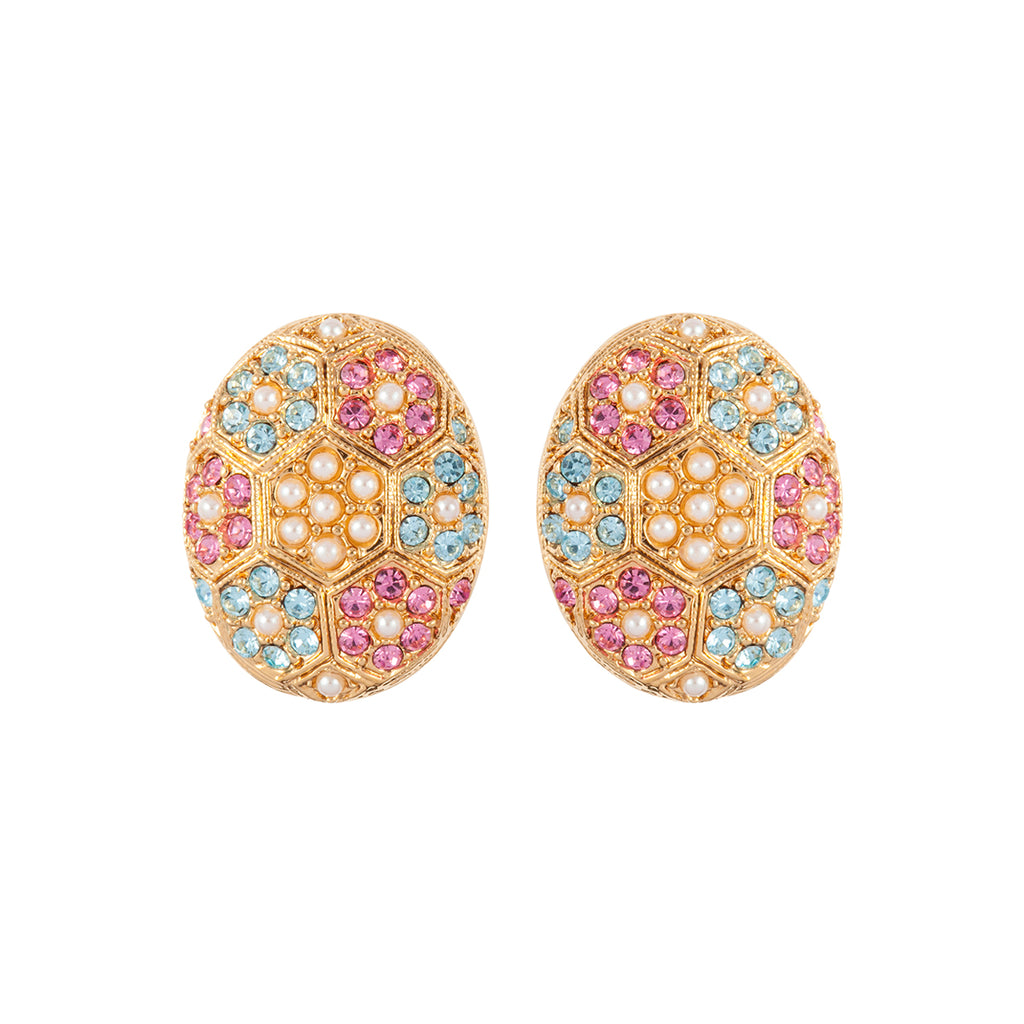 1980s Vintage D'Orlan Pastel Swarovski Crystal Oval Earrings