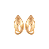 1970s Vintage D'Orlan Brushed Leaf Clip-On Earrings