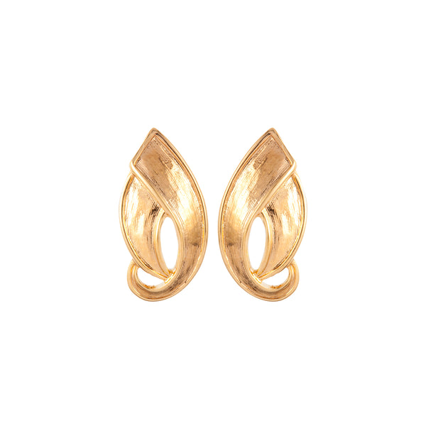 1980s Vintage D'Orlan Brushed Leaf Clip-On Earrings