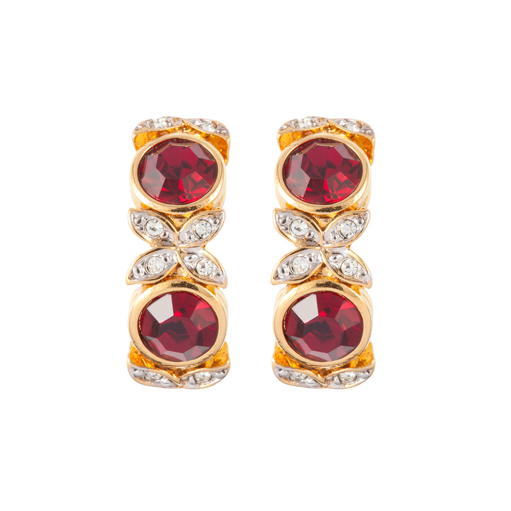 1980s Vintage D'Orlan Ruby Red Swarovski Crystal Clip-On Earrings