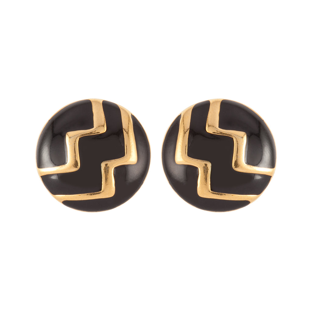 1970s Vintage Monet Stylised Round Clip-On Earrings