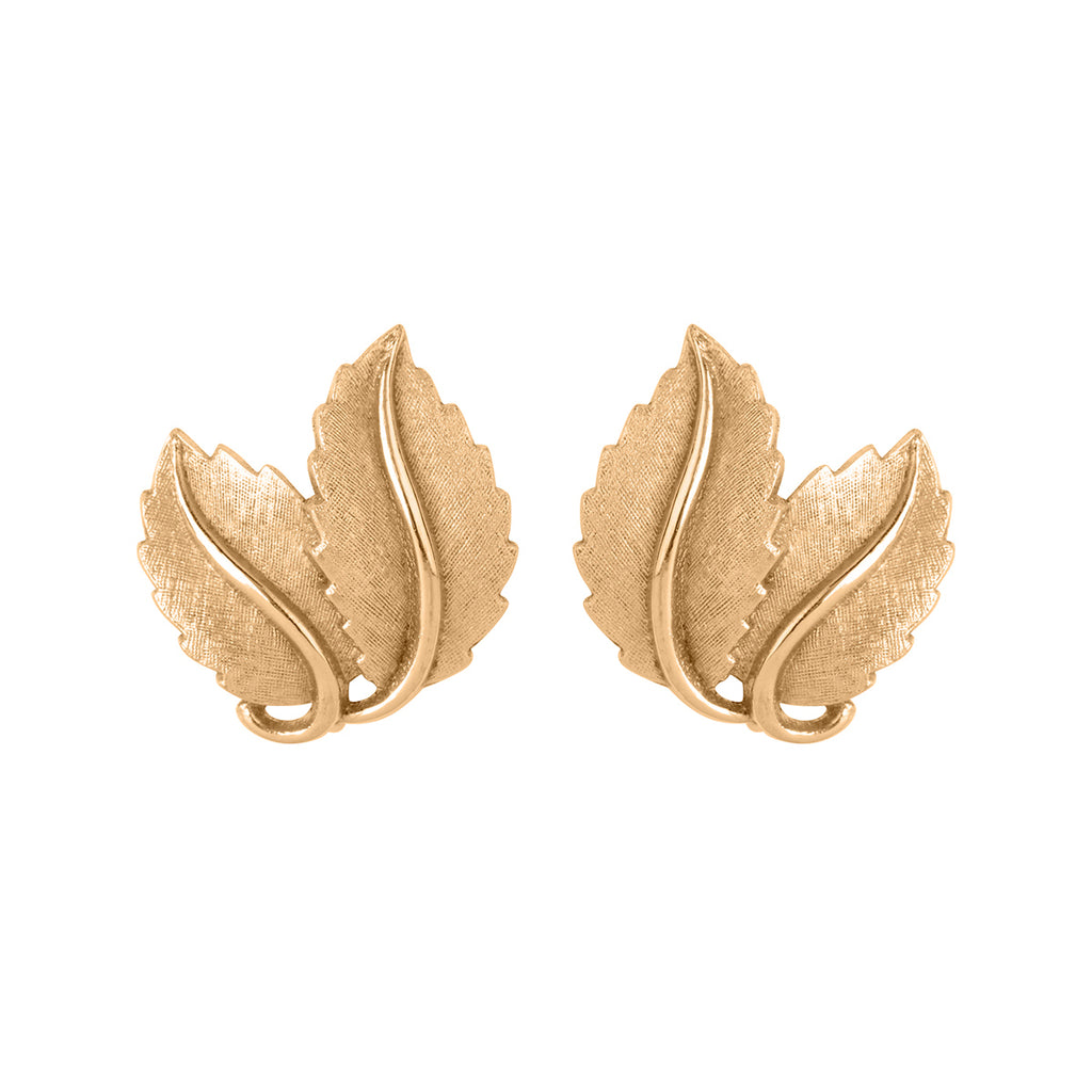 1960s Vintage Trifari Brushed Leaf Clip-On Earrings