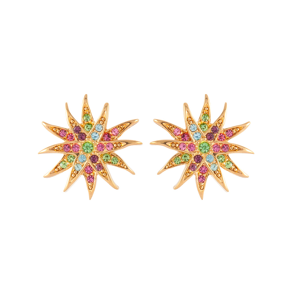 1980s Vintage D'Orlan Swarovski Crystal Star Clip-On Earrings