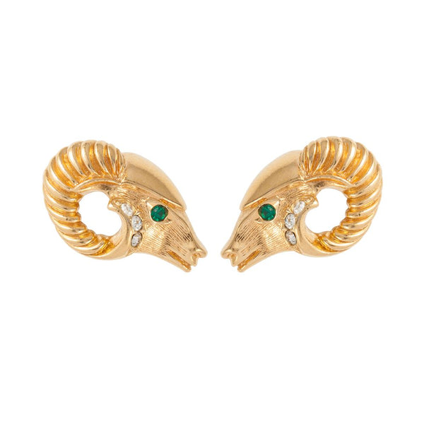 1980s Vintage Kenneth Jay Lane Ram's Head Earrings
