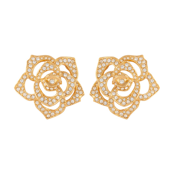 1990s Vintage Elizabeth Taylor Rose Clip-On Earrings