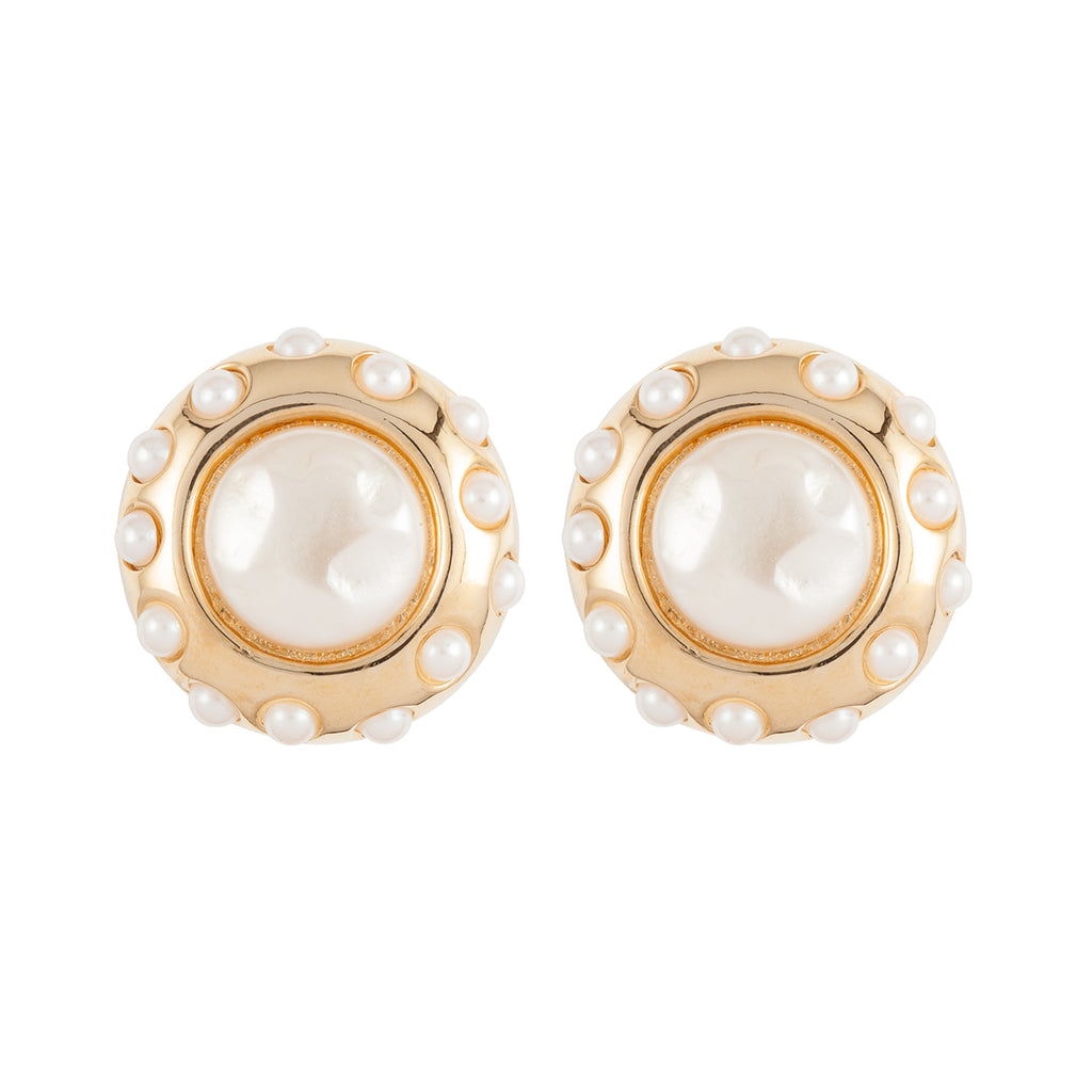 1980s Vintage Givenchy Faux Pearl Clip-On Earrings