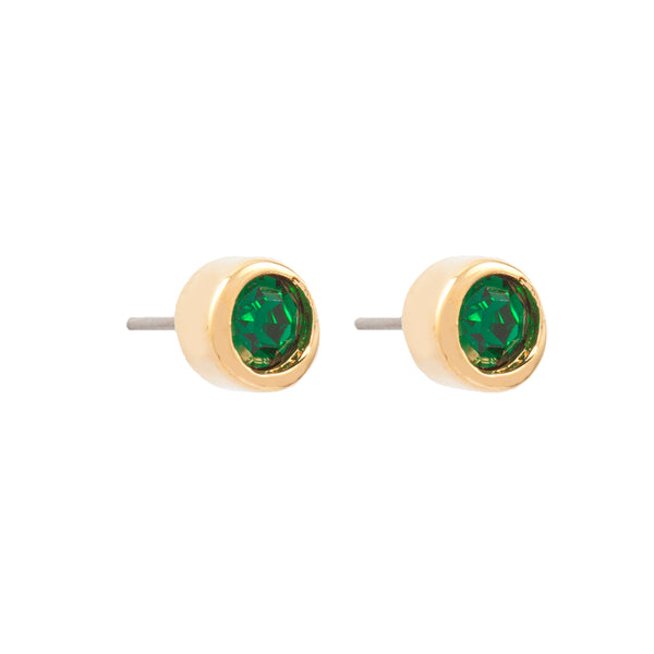 1980s Vintage D'Orlan Emerald Green Stud Earrings