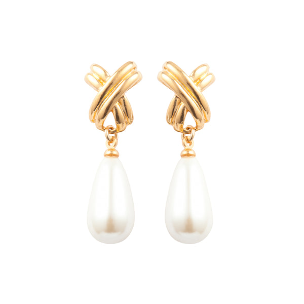 1980s Vintage Criss Cross Faux Pearl Drop Earrings