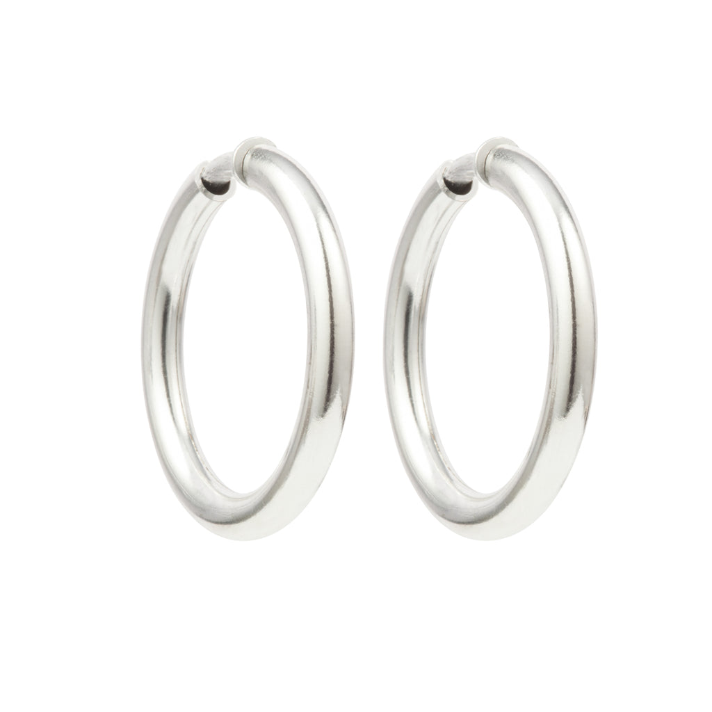 1980s Vintage Silver Plated Hoop Clip-On Earrings