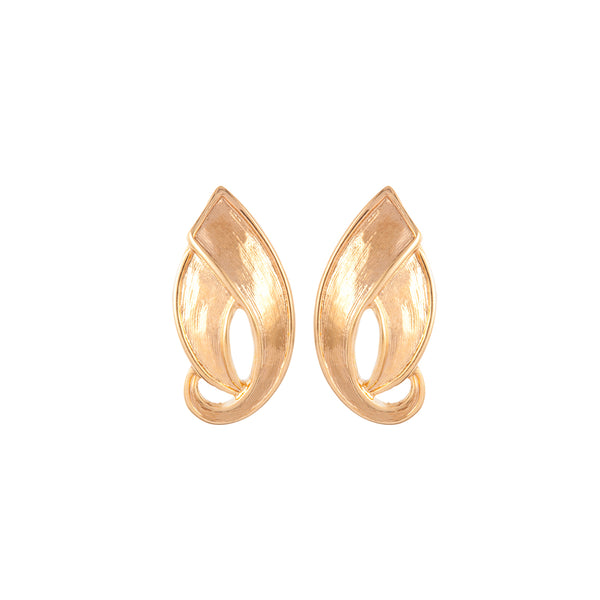 1980s Vintage D'Orlan Brushed Leaf Earrings