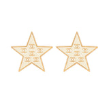 2001 Chanel Creme Star Clip-On Earrings