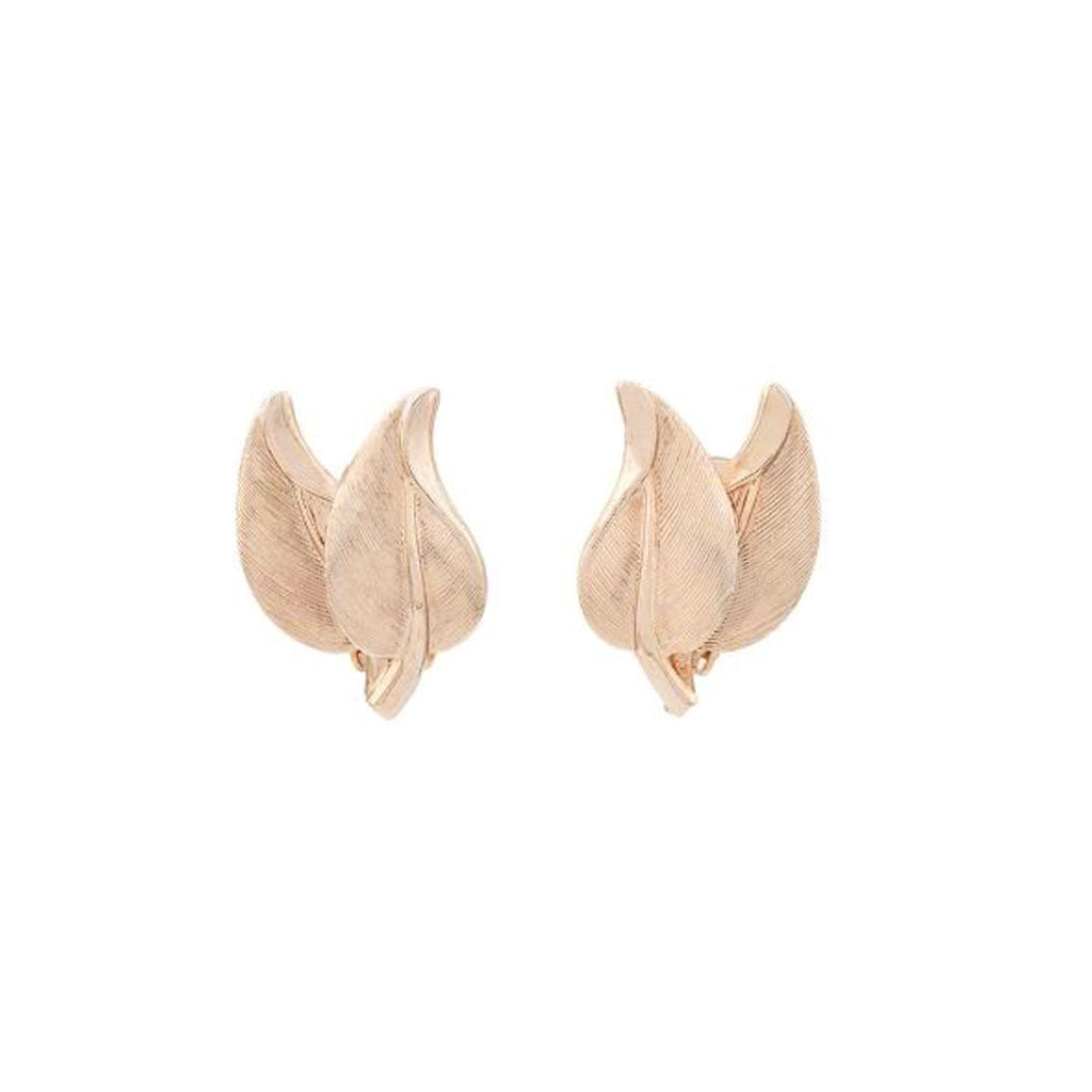 1970s Vintage Bergere Leaf Clip-On Earrings