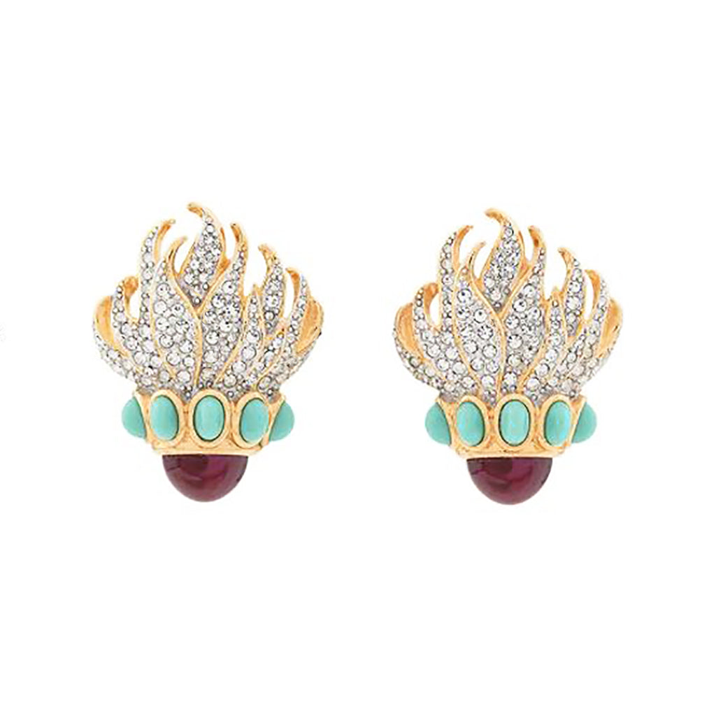1980s Vintage Elizabeth Taylor Flame Clip-On Earrings
